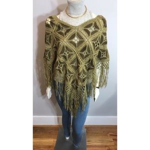 Brown & Gold Crochet Suede Poncho OS